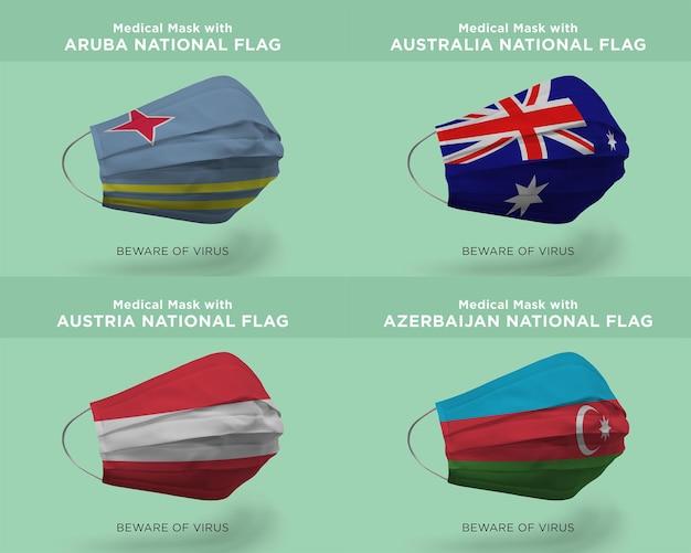 Máscara médica com bandeiras da nação de aruba austrália áustria azerbaijão
