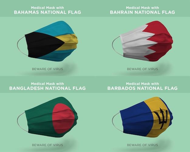 Máscara médica com bandeiras da nação de bahamas, bahrain, bangladesh, barbados