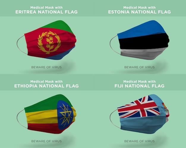 Máscara médica com bandeiras da nação de fiji, estônia, eritreia, etiópia