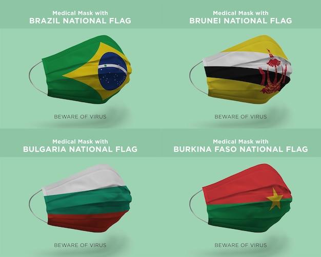 Máscara médica com bandeiras da nação do brasil brunei bulgária burkina faso