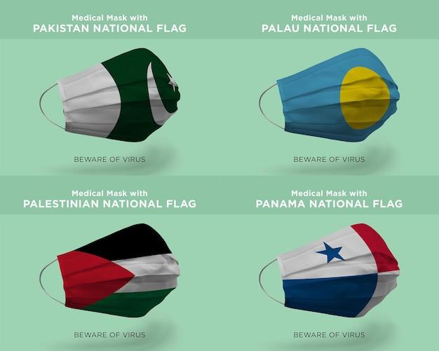 Máscara médica com bandeiras da nação do paquistão palau palestino panamá