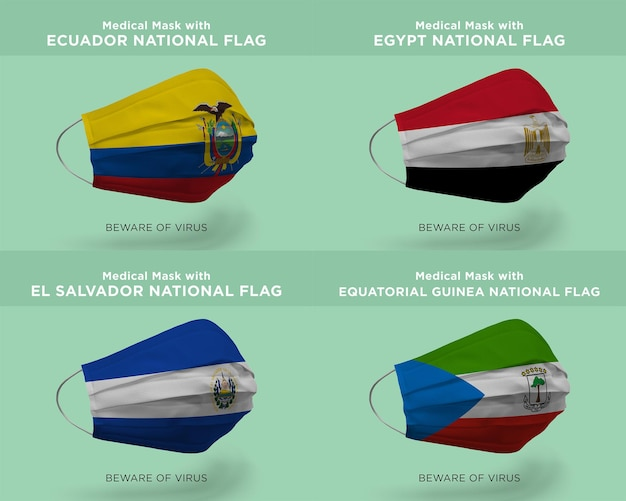 Máscara médica com bandeiras da nação equatorial do equador egito el salvador guiné equatorial