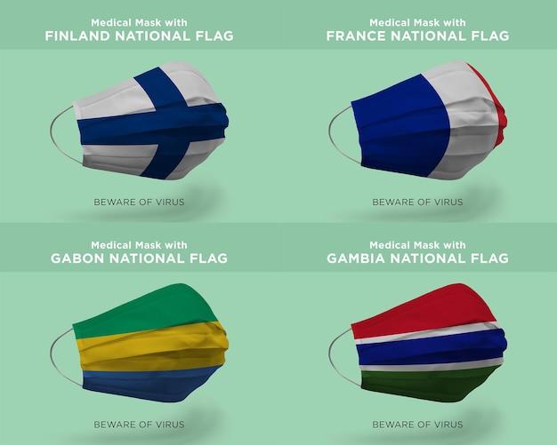 Máscara médica com bandeiras da nação finlândia frança gabão gâmbia