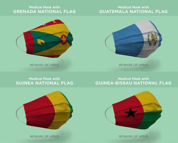 Máscara médica com bandeiras da nação granada guatemala guiné-bissau
