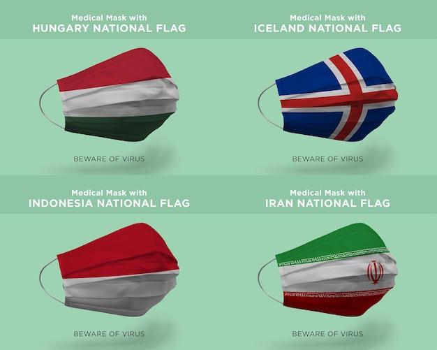 Máscara médica com bandeiras da nação hungria islândia indonésia irã