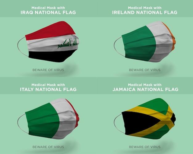 Máscara médica com bandeiras da nação iraque irlanda itália jamaica