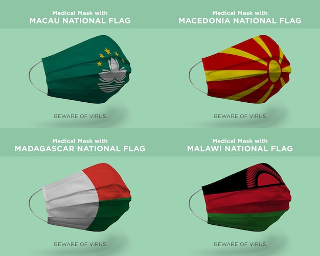 Máscara médica com bandeiras da nação macau macedônia madagascar malawi