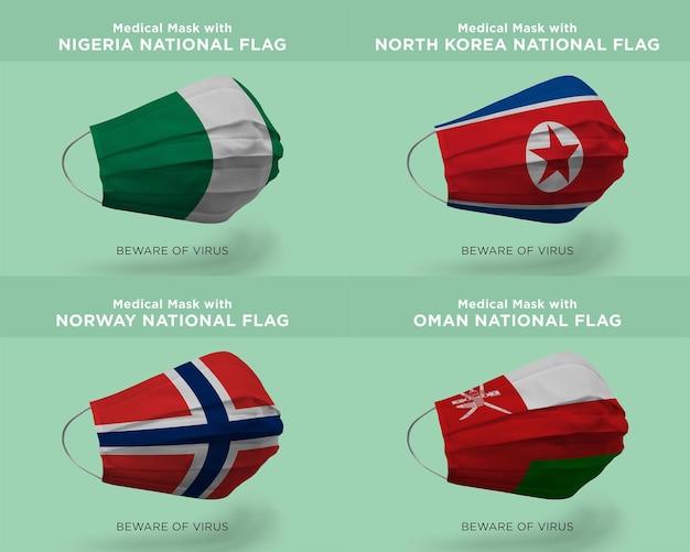 Máscara médica com bandeiras da nação nigéria, coreia do norte, noruega omã
