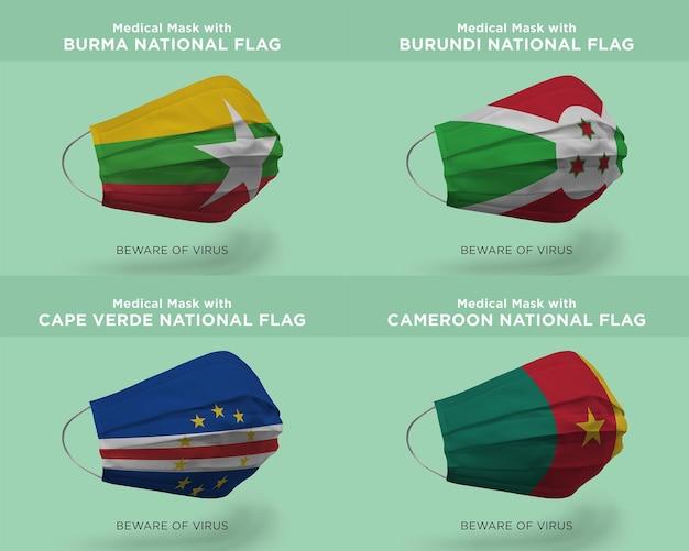 Máscara médica com bandeiras nacionais de burma burundi cabo verde camarões