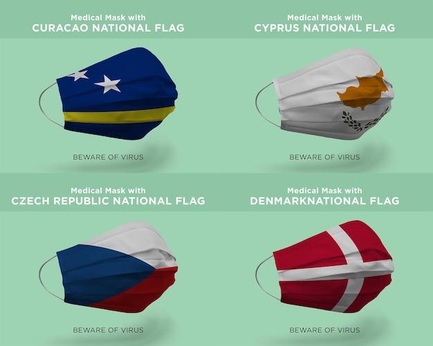 Máscara médica com bandeiras nacionais de curaçao chipre república tcheca dinamarca