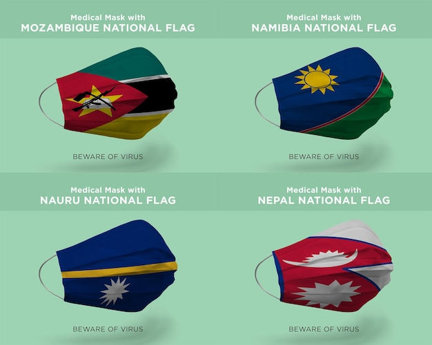 Máscara médica com bandeiras nacionais de moçambique namíbia nauru nepal