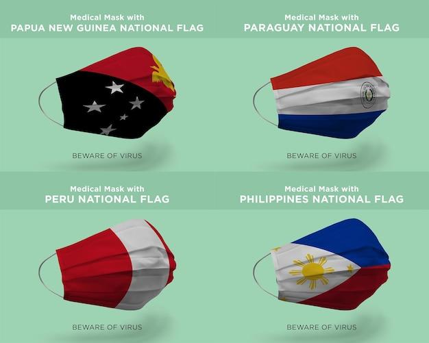 Máscara médica com bandeiras nacionais de papua nova guiné paraguai peru filipinas
