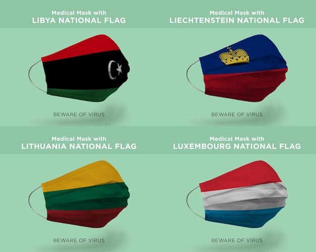 Máscara médica com líbia liechtenstein lituânia luxemburgolibya liechtenstein lituânia luxemburgo bandeiras nacionais