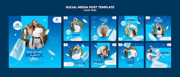 Máscara postagens gratuitas de mídia social