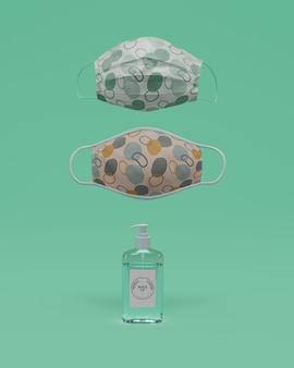 Máscaras artesanais e desinfetante para as mãos com maquete