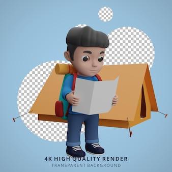 Mascote do acampamento do menino na ilustração do personagem 3d abrir o mapa