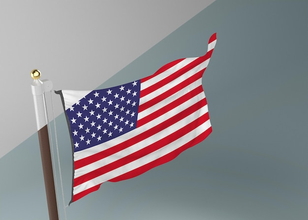 Mastro com bandeira dos estados unidos