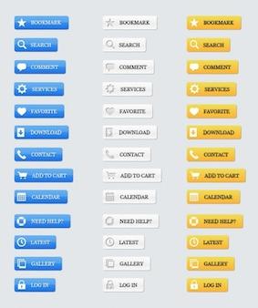 Material de botão com ícones psd