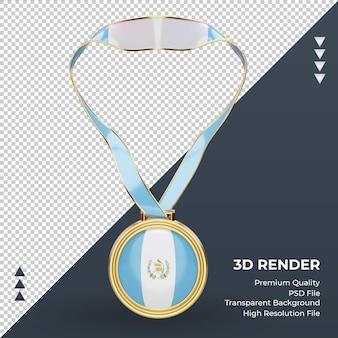 Medalha 3d bandeira da guatemala renderizando vista frontal