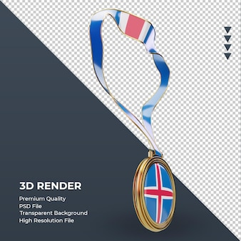 Medalha 3d bandeira da islândia renderizando a vista esquerda