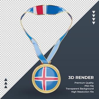 Medalha 3d bandeira da islândia renderizando vista frontal