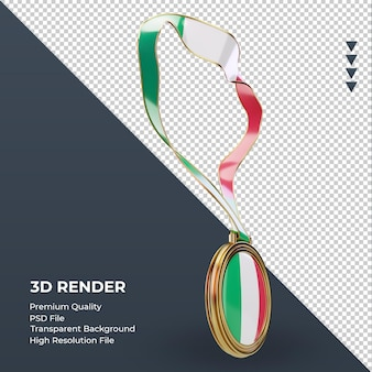 Medalha 3d bandeira da itália renderizando a vista esquerda