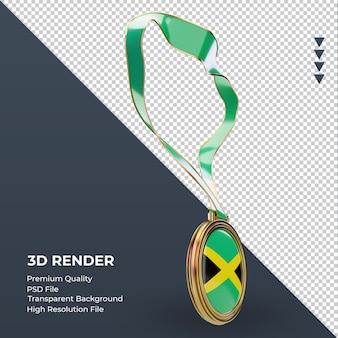 Medalha 3d bandeira da jamaica renderizando a vista esquerda