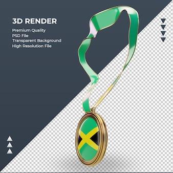 Medalha 3d bandeira da jamaica renderizando vista direita