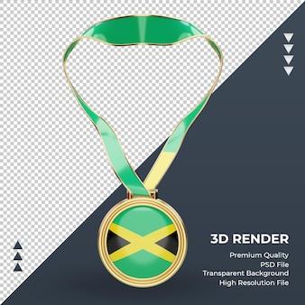 Medalha 3d bandeira da jamaica renderizando vista frontal