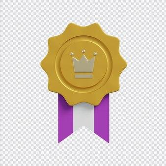 Medalha 3d em renderização 3d isolada