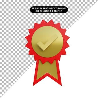 Medalha de objeto simples de ilustração 3d com ícone de lista de verificação
