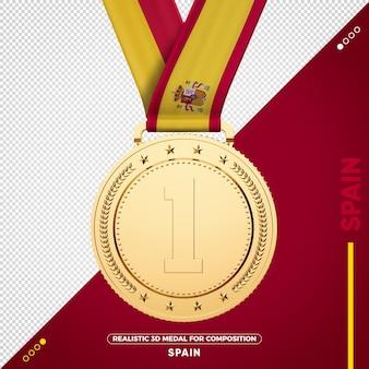 Medalha de ouro bandeira da espanha para composição