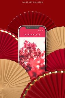 Medalhão de leque de papel como decoração de ano novo chinês com maquete de telefone
