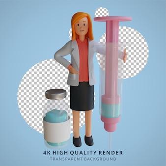 Médica 3d carregando uma grande ilustração de personagem com injeção de vacina