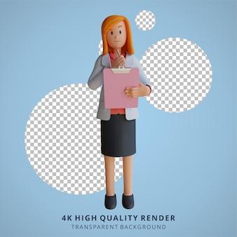 Médica 3d segurando uma ilustração de personagem de tabuleiro de xadrez