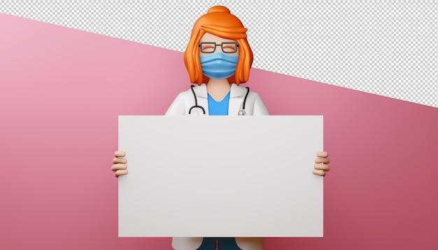 Médica feliz com renderização 3d de tela em branco