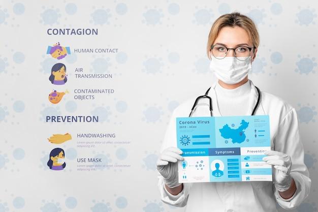 Médica, segurando o modelo de coronavírus