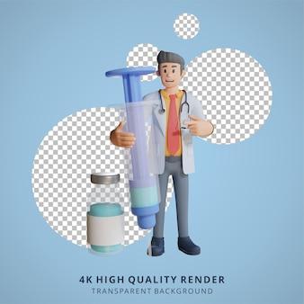 Médico 3d masculino carregando uma grande ilustração de personagem de injeção de vacina