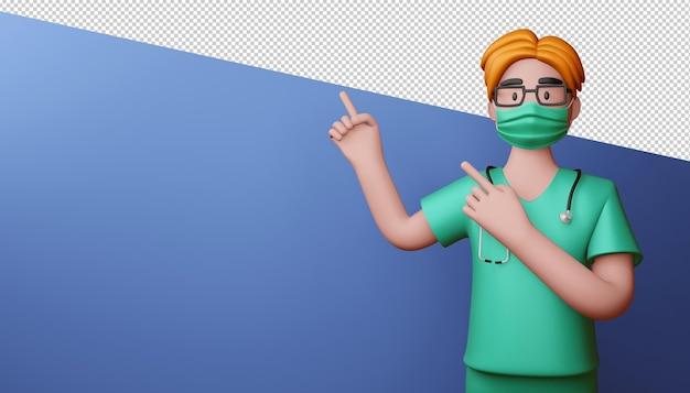 Médico homem apontando os dedos renderização em 3d