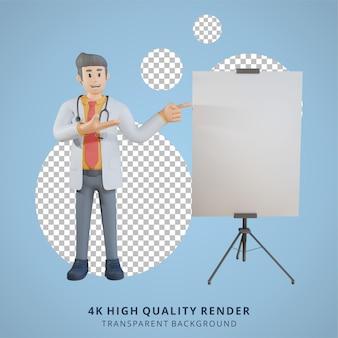 Médico masculino 3d apresentando a ilustração do personagem da placa