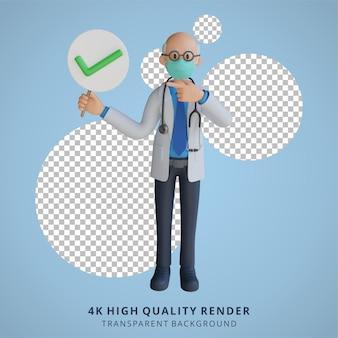 Médico masculino usando uma máscara apresentando-se com a ilustração de personagens 3d da placa