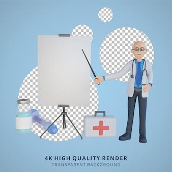 Médico sênior 3d apresentando a diretoria sobre a ilustração do personagem da vacina