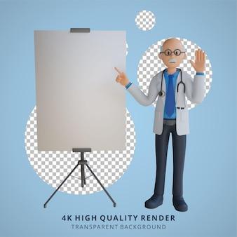 Médico sênior 3d apresentando a ilustração do personagem da placa