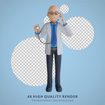 Médico sênior 3d segurando uma ilustração de personagem de estetoscópio
