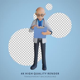 Médico sênior 3d segurando uma ilustração de personagem de tabuleiro de xadrez