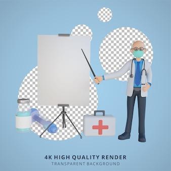 Médico sênior masculino 3d usando uma máscara e se ressentindo de uma ilustração do design de personagens de uma folha branca em branco