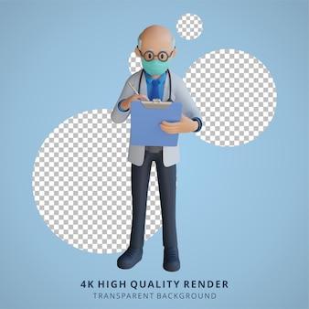 Médico sênior masculino 3d usando uma máscara, segurando uma lista e pensando na ilustração do projeto do personagem