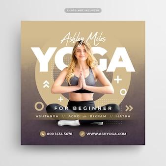 Meditação de ioga para iniciantes nas mídias sociais e modelo de banner da web