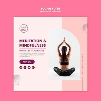 Meditação e mindfulness da posição de lótus panfleto quadrado