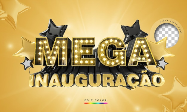 Mega banner de abertura no brasil, modelo de promoção 3d render